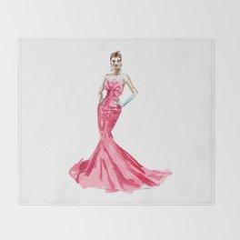 Sabrina / Hepburn Fuschia Pink Red | Fashion Gown Dress Throw Blanket
