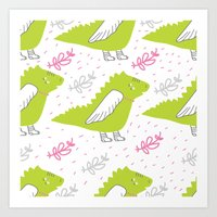 dragons Art Prints featuring Dragons by LOLIA-LOVA