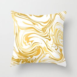 White and gold marble texture  Throw Pillow
