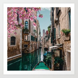 Spring Venice emerald canal with old building  Art Print