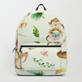 Tropical hand painted floral monkeys coconut pattern Backpack