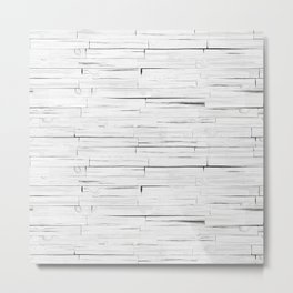 White Wooden Planks Wall Metal Print