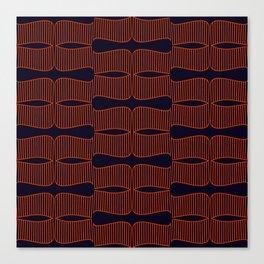 Art deco pattern - orange on dark maroon palette Canvas Print