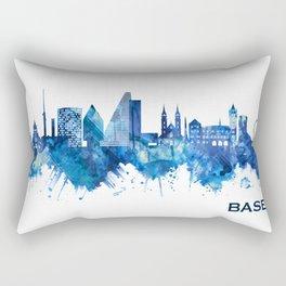 Basel Switzerland Skyline Blue Rectangular Pillow