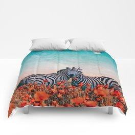 Zebras in a flower field Comforters