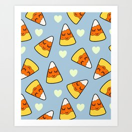 Candy Corn and Heart Pattern Art Print