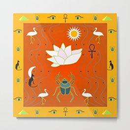 Egyptian Design - Salmon Gold Metal Print