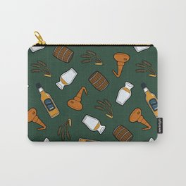 Whisky Pattern in Dark Green Carry-All Pouch