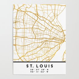ST. LOUIS MISSOURI CITY STREET MAP ART Poster