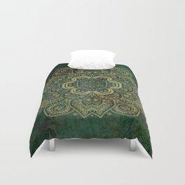 Golden Flower Mandala on Dark Green Duvet Cover