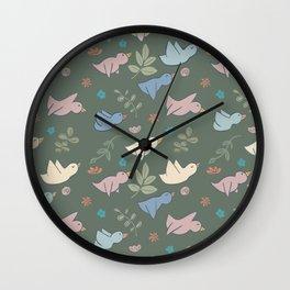 Little Birds Flying Pattern Wall Clock