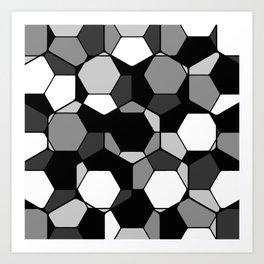 Retro Rocks - 50 Shades Of Grey - Abstract, black and white, hexagonal pattern Art Print