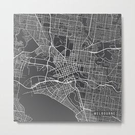 Melbourne Map, Australia - Gray Metal Print