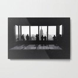 New York City Window Views Black and White Metal Print