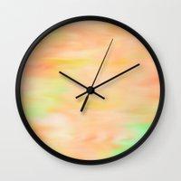 peach Wall Clocks featuring Peach by Angelz