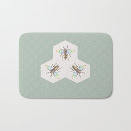Hand drawing Bee on stylized honeycombs Bath Mat