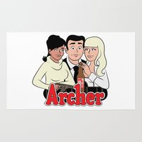 archer Area & Throw Rugs featuring Archer Comics by Jessica Sinclair
