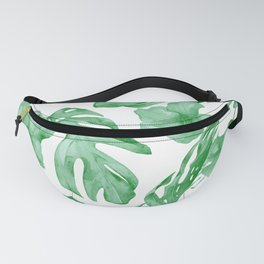 Tropical Island Leaves Green on White Fanny Pack