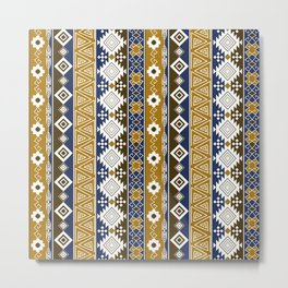 Colorful Aztec pattern with gold. Metal Print