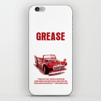 grease iPhone & iPod Skins featuring Grease Movie Poster by FunnyFaceArt
