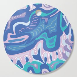 Modern Paisley Blue and Pink Cutting Board