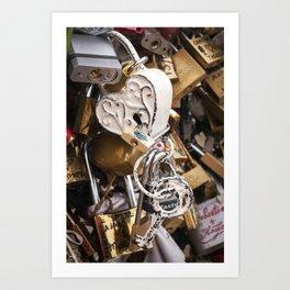 White antique love lock in Paris | Noriko Aizawa Buckles Art Print