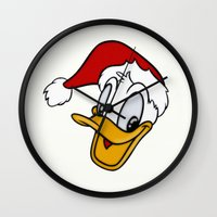 donald duck Wall Clocks featuring Christmas Donald Duck by Yuliya L