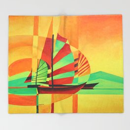 Chinese Junks Sail to Shore  Throw Blanket