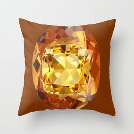 HONEY YELLOW  CITRINES SEPTEMBER  BIRTHSTONES ART Throw Pillow