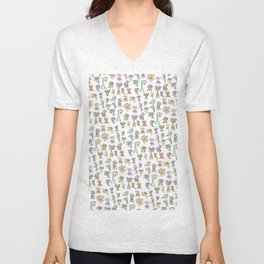 Scribbehead_Montage of Characters Unisex V-Neck