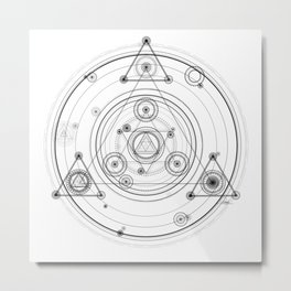 Geometric art inspired by magic circles, sacred geometry and fractal art Metal Print