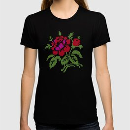 Embroidered red rose T-shirt