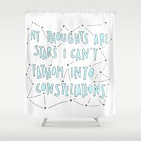 fault in our stars Shower Curtains featuring The Fault in Our Stars by Christa Morgan ☽