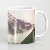 the mountains are calling Mugs featuring The Mountains Are Calling by Noonday Design