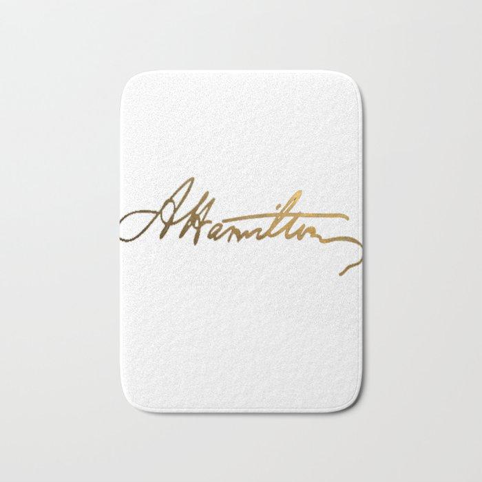 Alexander Hamilton Gold Signature Bath Mat by gabriellemunoz | Society6