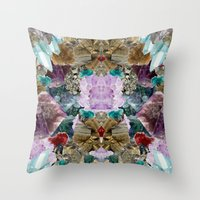crystal Throw Pillows featuring Crystal by Joanna Tadger