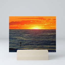 Paddle Boarding at Sunset Mini Art Print