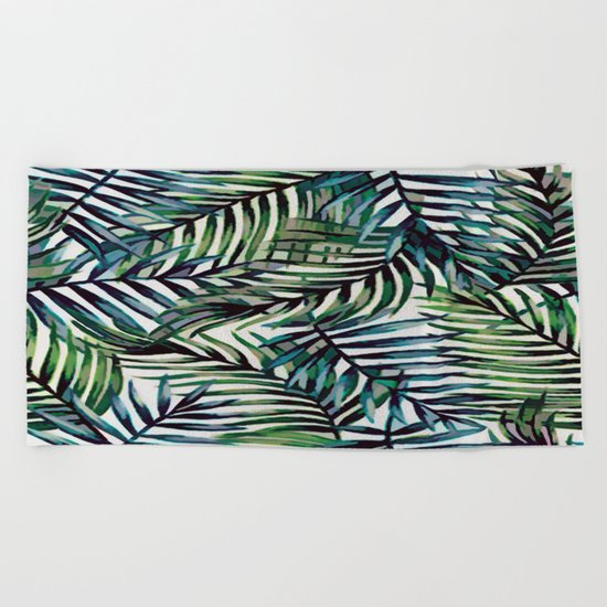Palm Leaves Abstract Beach Towel