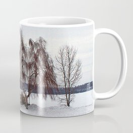 Weeping Willow on the Frozen Lake Coffee Mug