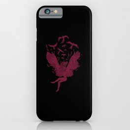Falling angel female angel with birds iPhone Case