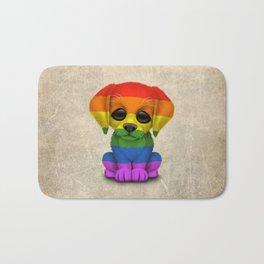 Cute Puppy Dog with Gay Pride Rainbow Flag Bath Mat