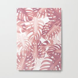 Rose gold tropical plant Metal Print