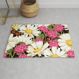 Daisy & Butterfly Floral Kingdom Sumptuous Fantasy Flower Pattern Rug