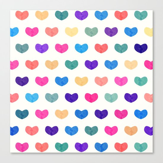 Colorful Cute Hearts III Canvas Print