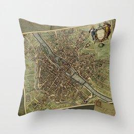 Old Paris Map and other manuscripts Throw Pillow