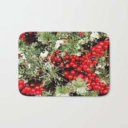 Frosted Christmas Tree with Holly Bath Mat