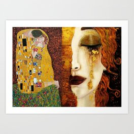 Gustav Klimt: The Kiss & Freya's Tears golden-red flower anemone college portrait painting Art Print
