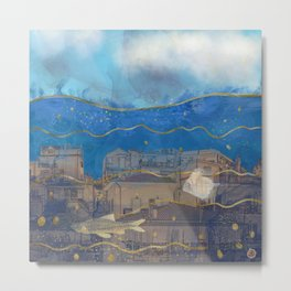 Cities under the Water - Surreal Climate Change Metal Print