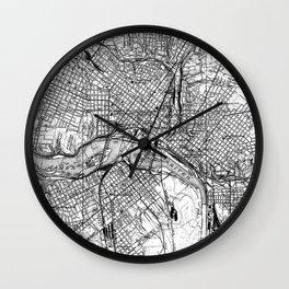 Vintage Map of Richmond Virginia (1934) BW Wall Clock