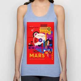 NASA Mars The Red Planet Retro Poster Futuristic Best Quality Unisex Tank Top
